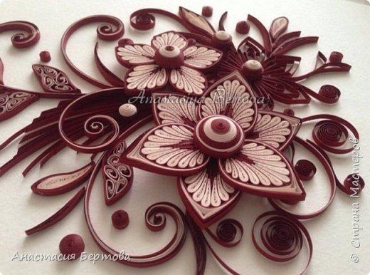 Картина панно рисунок Мастер-класс Квиллинг Фантазийный цветок Бумажные полосы Клей фото 28
