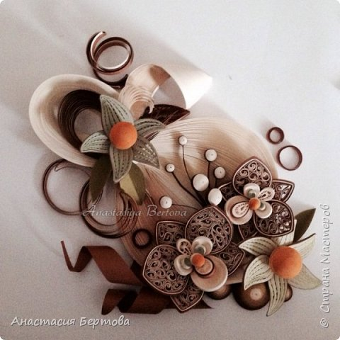 Картина панно рисунок Мастер-класс Квиллинг Фантазийный цветок Бумажные полосы Клей фото 30