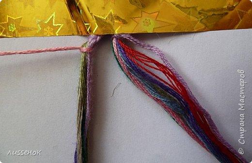 Хорошего всем настроения жители Страны Мастеров! Сегодня я хочу рассказать о плетении классической фенечки - конфетки из 16 нитей. фото 4
