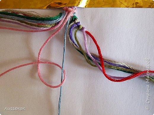 Хорошего всем настроения жители Страны Мастеров! Сегодня я хочу рассказать о плетении классической фенечки - конфетки из 16 нитей. фото 13