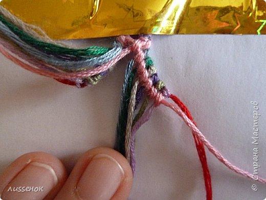 Хорошего всем настроения жители Страны Мастеров! Сегодня я хочу рассказать о плетении классической фенечки - конфетки из 16 нитей. фото 14