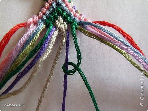 Хорошего всем настроения жители Страны Мастеров! Сегодня я хочу рассказать о плетении классической фенечки - конфетки из 16 нитей. фото 19
