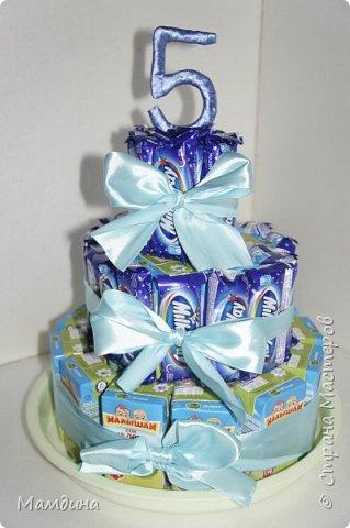 Доброго времени суток! На день рождения племянницы сделался вот такой тортик из сладостей.  фото 5