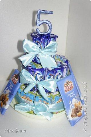 Доброго времени суток! На день рождения племянницы сделался вот такой тортик из сладостей.  фото 6