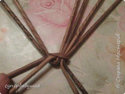 Мастер-класс Поделка изделие Плетение Круглое дно- звездочка Трубочки бумажные фото 4