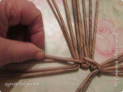 Мастер-класс Поделка изделие Плетение Круглое дно- звездочка Трубочки бумажные фото 7