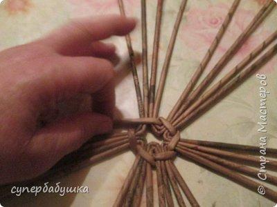 Мастер-класс Поделка изделие Плетение Круглое дно- звездочка Трубочки бумажные фото 9