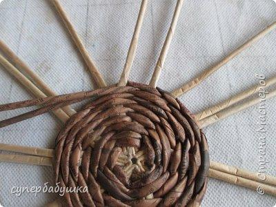 Мастер-класс Поделка изделие Плетение Круглое дно- звездочка Трубочки бумажные фото 13