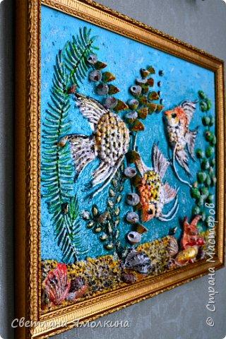 Картина панно рисунок Мастер-класс Ассамбляж Мастер-класс Панно Скалярии  Гуашь Клей Краска Крупа Проволока Ракушки фото 2
