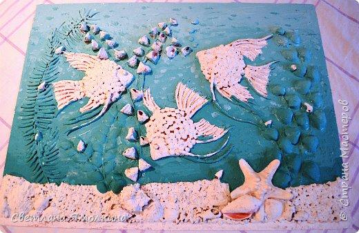 Картина панно рисунок Мастер-класс Ассамбляж Мастер-класс Панно Скалярии  Гуашь Клей Краска Крупа Проволока Ракушки фото 27