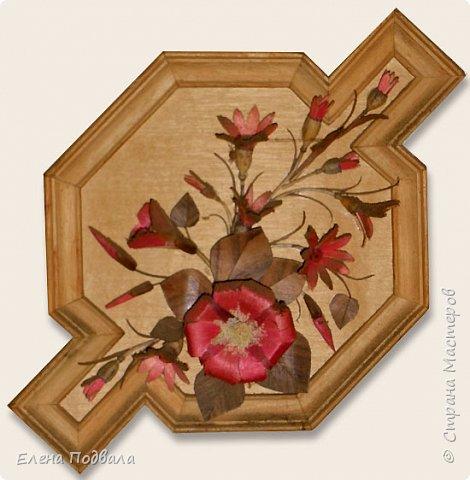 Полевые цветы. Деревянный шпон, природный материал. фото 2