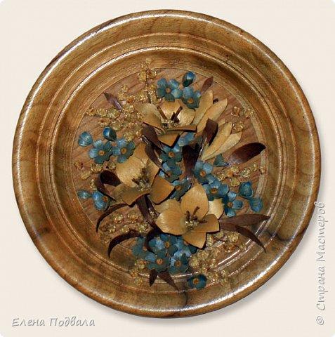 Полевые цветы. Деревянный шпон, природный материал. фото 3