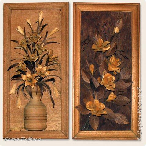 Полевые цветы. Деревянный шпон, природный материал. фото 9