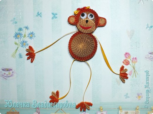 Новый год к нам мчится! Знакомьтесь, хозяйка наступающего года - Озорница-обезьянка! Предлагаю мастер-класс для начинающих и желающих попробовать себя в работе с интересной техникой - гофроквиллинг. фото 31