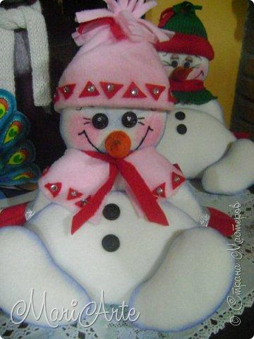 Игрушка Мастер-класс Новый год Шитьё Снеговичок- тюфячок М К Клей Краска Нитки Ткань фото 1