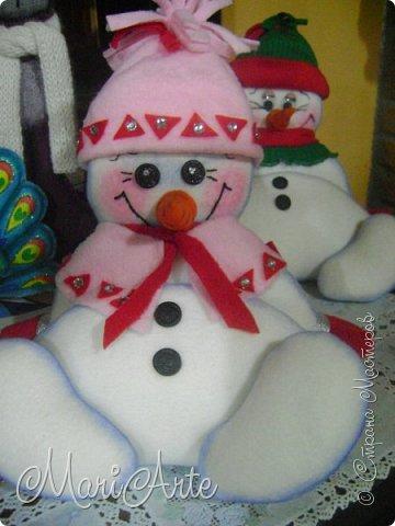 Игрушка Мастер-класс Новый год Шитьё Снеговичок- тюфячок М К Клей Краска Нитки Ткань фото 2