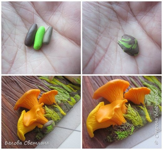 Сегодня я покажу вам некоторые этапы создания панно «Грибная история» из полимерной глины. Для работы нам понадобятся: полимерная глина (запекаемая), скалка или паста-машина, иголочка, зубочистка, резак, краски акриловые, лак глянцевый, зубная щётка и наши волшебные руки и фантазия! фото 8