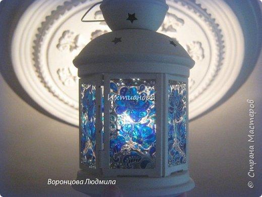 Декор предметов Мастер-класс День рождения Новый год Витраж Роспись Мастер-класс витражный фонарик в стиле «Гжель» Краска Стекло фото 18