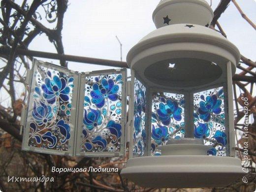 Декор предметов Мастер-класс День рождения Новый год Витраж Роспись Мастер-класс витражный фонарик в стиле «Гжель» Краска Стекло фото 17