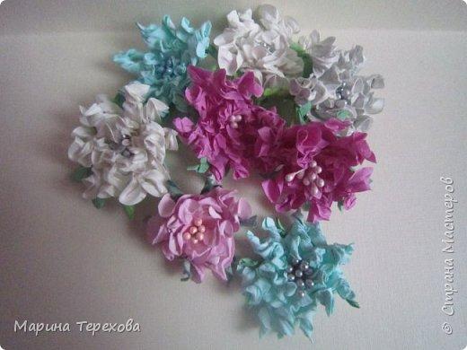 Приветствую мастерицы!заболела я тут цветочной болезнью))все эксперементирую,окрашиваю,кручу.за это время скопилось огромное количество цветочков!часть из них показываю вам. на некоторые цветочки есть МК.будут желающие,обязательно поделюсь))    это гардении фото 1