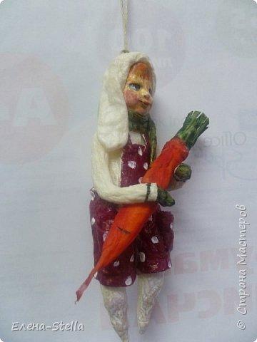 Зайчик из ваты (13 см) Для маленькой девочки, которая его очень ждет! фото 2