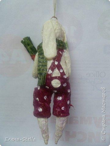 Зайчик из ваты (13 см) Для маленькой девочки, которая его очень ждет! фото 3