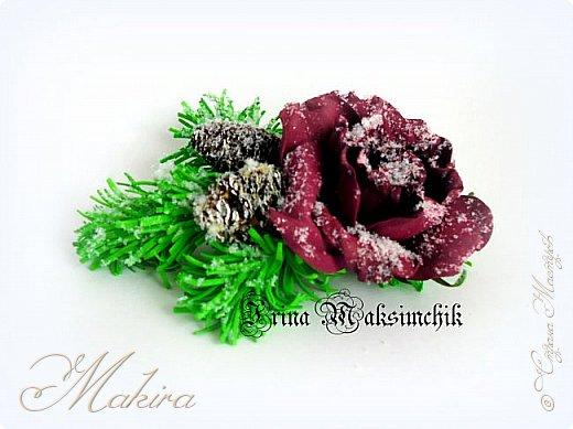 """Роза из фоамирана """"Зимняя сказка"""", брошь."""