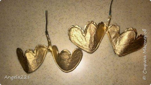 Эти лапушки появились благодаря Татьяне Бушмановой https://stranamasterov.ru/node/346342. Мне понравилась идея, которая у меня приняла вот такие формы. Лица ангелов (для гладкости) покрыты тонким слоем массы (глины)  JOVI. Всё остальное вылеплено из массы папье-маше.  фото 8