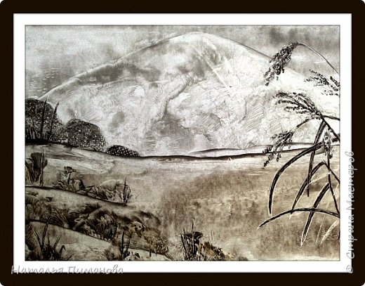 """Картины выполнены по мотивам японской монохромной живописи суми э. Живопись суми-э - искусство, которое возникло в Китае во времена династии Сун. В XIV веке оно проникает в Японию. Что это за искусство, можно понять из самого названия: слово суми-э представляет собой соединение двух японских слов, которые в переводе означают """"тушь"""" (суми) и """"живопись"""" (э). То есть суми-э - это тип монохромной живописи, похожей на акварель. А я, уж извинят меня японские художники, попробовала нарисовать картины воском и утюгом.  фото 3"""
