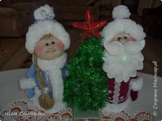 Игрушка Новый год Шитьё МК  Дед Мороз и Снегурочка Бутылки пластиковые Мех Ткань фото 1