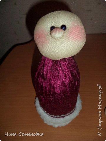 Игрушка Новый год Шитьё МК  Дед Мороз и Снегурочка Бутылки пластиковые Мех Ткань фото 9
