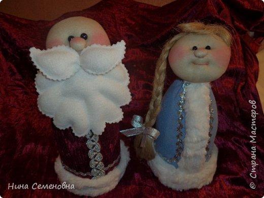 Игрушка Новый год Шитьё МК  Дед Мороз и Снегурочка Бутылки пластиковые Мех Ткань фото 10