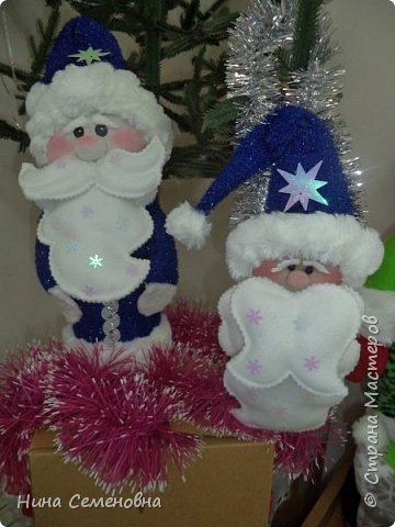 Игрушка Новый год Шитьё МК  Дед Мороз и Снегурочка Бутылки пластиковые Мех Ткань фото 16