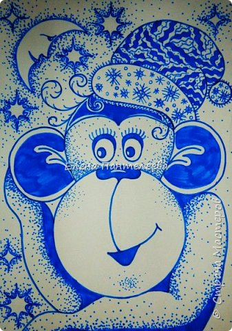 Рисуем символ года- обезьянку. фото 1