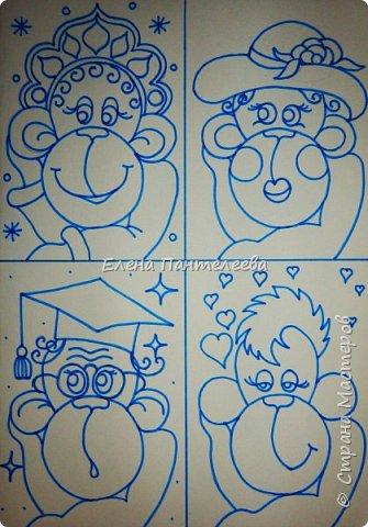 Рисуем символ года- обезьянку. фото 20