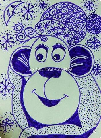 Рисуем символ года- обезьянку. фото 24