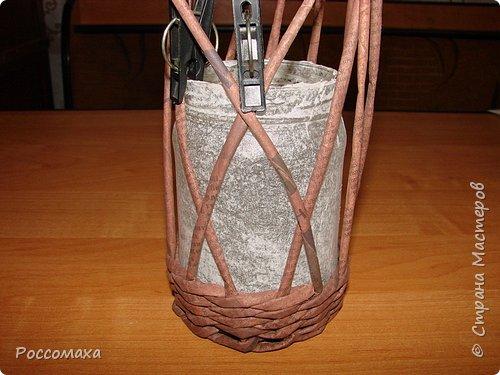 Мастер-класс Поделка изделие Плетение Фонарик из ничего Бумага газетная Проволока Трубочки бумажные фото 14