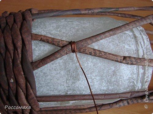 Мастер-класс Поделка изделие Плетение Фонарик из ничего Бумага газетная Проволока Трубочки бумажные фото 15