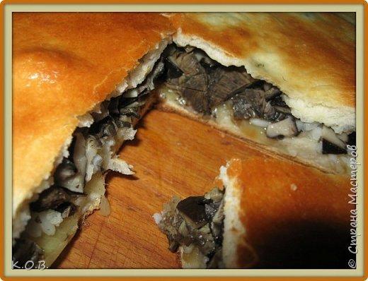 Пирог с солеными грибами, отварным рисом и обжаренным луком