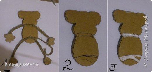 Мастер-класс Поделка изделие Новый год Моделирование конструирование Символ года из шпагата МК Бисер Картон Клей Краска Магниты Нитки Шпагат фото 12