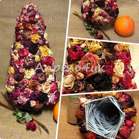 Доброго времени суток, всем заглянувшим на огонек! Хочу представить вашему вниманию новогоднее дерево из засушенных роз.  фото 5
