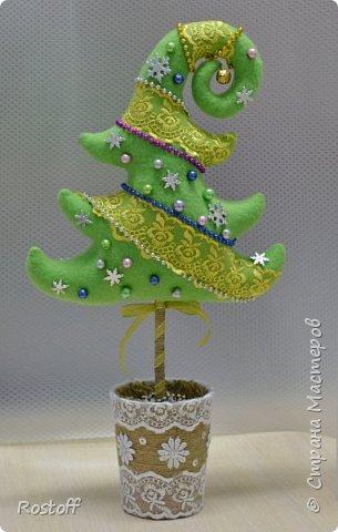 Бонсай топиарий ёлка Мастер-класс Новый год Шитьё Ёлочка-топиарий МК Ткань фото 2