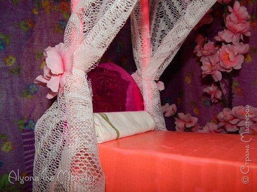 Приветствую всех, кто зашел в гости!  Недавно у Повелительницы Драконов появилась комната. Ну не может же столь важная персона быть бездомной)) Я решила сделать спальню для Вирджин розового цвета, в тон цветам на платье. Давайте рассмотрим ее поподробнее. фото 14