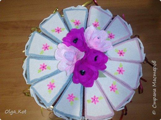 Дорогие мастера и мастерицы, сделала я вот такой бумажный тортик в подарок бабушке на День Рождения. В каждой коробочке пачка чая...Украсила цветами из бумаги и стразами. В центр тортика воткнула букетик цветов из конфет. фото 1