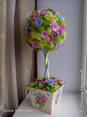 Работа выполнена на заказ. Все цветочки вылеплены моими руками. Высота 50 см.,ширина кроны 22 см. Фактуру листикам придавала с помощью самодельного молда. Фото с разных сторон. Приятного просмотра))) фото 1