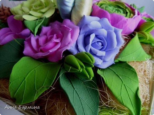 Работа выполнена на заказ. Все цветочки вылеплены моими руками. Высота 50 см.,ширина кроны 22 см. Фактуру листикам придавала с помощью самодельного молда. Фото с разных сторон. Приятного просмотра))) фото 5
