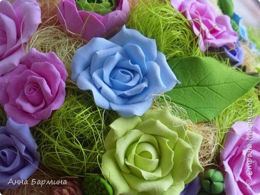 Работа выполнена на заказ. Все цветочки вылеплены моими руками. Высота 50 см.,ширина кроны 22 см. Фактуру листикам придавала с помощью самодельного молда. Фото с разных сторон. Приятного просмотра))) фото 14