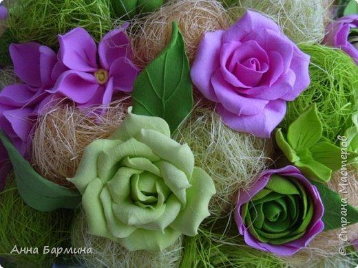Работа выполнена на заказ. Все цветочки вылеплены моими руками. Высота 50 см.,ширина кроны 22 см. Фактуру листикам придавала с помощью самодельного молда. Фото с разных сторон. Приятного просмотра))) фото 11