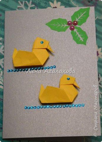 Сегодня с моей дочкой весь вечер делали открытки учителям, она увлекается оригами и поэтому решили использовать оригами фигурки в открытках, результат нам понравился! фото 2
