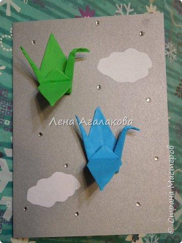 Сегодня с моей дочкой весь вечер делали открытки учителям, она увлекается оригами и поэтому решили использовать оригами фигурки в открытках, результат нам понравился! фото 7